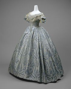 Blue silk and cotton brocade ball gown, probably American, ca. 1860.
