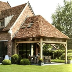 Pergola, Village House Design, Farmhouse Kitchen Island, Arts And Crafts House, Interesting Buildings, House With Porch, House Extensions, Patio Design, Ideal Home