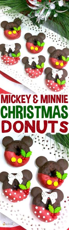 Disney fans will delight in these adorable Mickey & Minnie Christmas donuts! Try something new this year instead of the same old holiday cookies! #christmasrecipes #donuts #mickeymouse