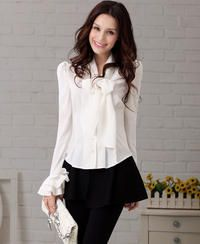 White Elegant Casual Office Ladies Shirt with Bow and Frilled Cuffs