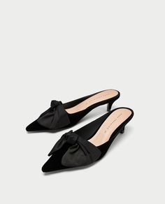 Image 1 of KITTEN HEEL MULES WITH BOW from Zara