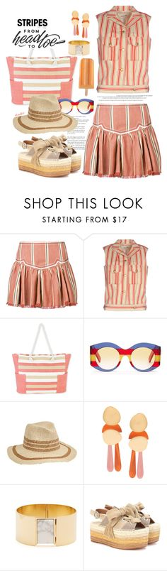 """""""Stripes Galore !!"""" by kateo ❤ liked on Polyvore featuring Étoile Isabel Marant, MICHEL KLEIN, Gucci, San Diego Hat Co., Lizzie Fortunato Jewels, Isabel Marant, Chloé, stripesonstripes, PatternChallenge and 7277"""