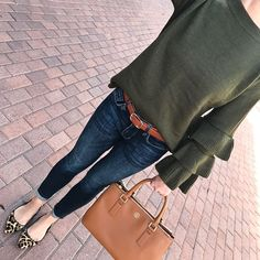 Petite Indigo Skinny Ankle Jeans, leopard flats, Olive green ruffled sleeve sweater, fall out. Casual Fall Outfits, Fall Winter Outfits, Spring Outfits, Green Sweater Outfit, Sweater Outfits, Green Top Outfit, Dark Jeans Outfit, Olive Green Outfit, Olive Green Top