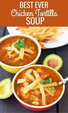 The Best Ever Chicken Tortilla Soup made with homemade tortilla strips. The Best Ever Chicken Tortilla Soup made with homemade tortilla strips. Mexican spiced broth, tender chicken and crispy tortilla strips. Best Chicken Tortilla Soup, Easy Tortilla Soup, Mexican Tortilla Soup, Best Tortilla Soup Recipe, Tortilla Strips For Soup, Chicken Enchilada Soup, Soups With Chicken Broth, Healthy Recipes, Food Dinners