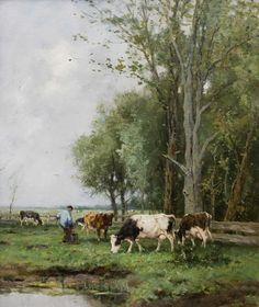 """Johan Frederik Cornelis Scherrewitz 1868 - 1951""""Melktijd"""""""
