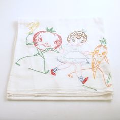 Vintage Kitchen Tea Towel Anthropomorphic Tomato by efinegifts, $14.95