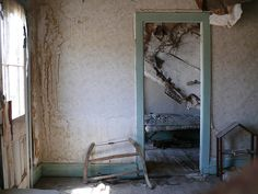 Through a Window. House interior, Ghost Town of Bodie, CA