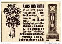 Original-Werbung / Anzeige 1937 - KUCKUCKSUHR / SCHWARZWALD - UHREN - VRTRIEB BÜRK - SCHWENNINGEN - ca. 45 x 25 mm