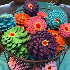 How to paint pine cones to look like zinnia flowers. Painted Pine Cones in a Two Tier Wire Basket Dyi Crafts, Fall Crafts, Easter Crafts, Crafts To Make, Pine Cone Art, Pine Cone Crafts, Pine Cones, Primitive Crafts, Primitive Christmas