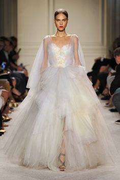 Marchesa Spring 2016: Look 33 -- wow! I wish I was getting married again (almost)...this is beautiful. I love the flowiness and not white color...great for a Soft Summer!