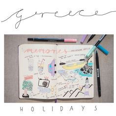 Some Bullet Journal inspiration and layout ideas. This time: My memories from my holidays in Greece. #bulletjournal #ideas #layout #inspiration