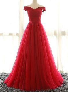 Red A line tulle off shoulder long prom dress, red eveni ng dress