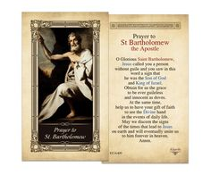Bartholomew Laminated Holy Card Prayer to St, Kilgarlin holy card, Prayer to St. Birthday Message For Friend, Birthday Messages, Heart Wedding Cakes, Apostles Creed, Kings Of Israel, Van Cleef And Arpels Jewelry, Novena Prayers, All Souls Day, Scapula