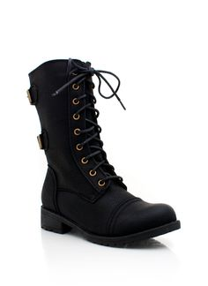mid rise combat boot $28.00 in BLACK WHISKY - New Shoes | GoJane.com