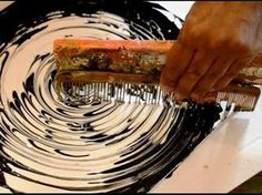 Abstract art Black & White Acrylic Circle Techniques La pintura abstracta de acrílico del arte de colada Técnicas فن الرسم التجريدي أكريليك صب تقنيات 抽象艺术绘画亚...