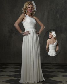 Light weight chiffon one shoulder lace detail ... great destination gown ... one Size 18 only