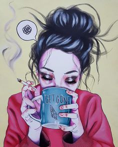 """Hangover"" #mixedmedia on paper #traditionalart #illustration #ilustración #lowbrow #beautifulbizarre #hangover #smoke #coffee #mug #arsenicgallery #grunge #art #drawing #nakidinspo #nakidmag"