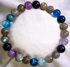 Labradorit Blau & Lila Achat Heilstein Perlen Armband