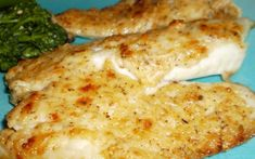 Heavenly Tilapia: Mix and set aside 1/2 c grated parm, 1/4 cup butter or margarine (softened), dash of tabasco, 3 tbs. mayonaise, 3 tbs. chopped green onion, salt and pepper to taste. Brush 2 lbs. of tilapia filets with lemon juice and broil 4-6 minutes. Remove from oven and spread with cheese mixture. Broil for an additional 2-3 minutes or until golden brown. Sounds easy and delish!