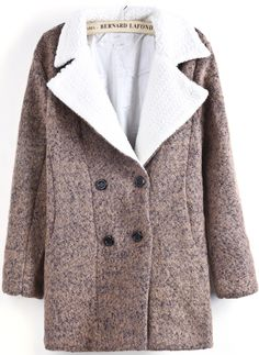 Pink Lapel Double Breasted Woolen Coat GBP£37.81