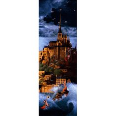 """Marie-Anne Foucart magnet """"Le Mont Saint-Michel """" (Triptyque complet 80x240mm)"""