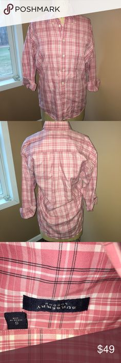 Pink Burberry London  small plaid dress shirt This could be worn for men's or women's it was my sons and very gently used maybe wore 2xs?  Pink plaid looks great with jeans or khakis Size small Made by Burberry London I do bundle to save on shipping and I'm open to reasonable offers too Burberry Shirts Casual Button Down Shirts