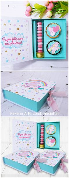 Lembrancinha de Aniversário Infantil Tema Unicórnio Unicorn Birthday Parties, Unicorn Party, Girl Birthday, Diy And Crafts, Paper Crafts, Fall Diy, Baby Shower Favors, Box Design, Holidays And Events