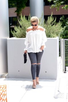 Wheretoget - White off-the-shoulder blouse, dark blue ripped skinny jeans, nude sandals, black clutch and sunglasses