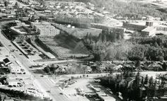 43 St and the Red Deer General Hospital. Looking SW from Gaetz Ave. 1961, Red Deer, AB Red Deer, General Hospital, Old Buildings, Paris Skyline, The Past, History, Travel, Historia, Viajes