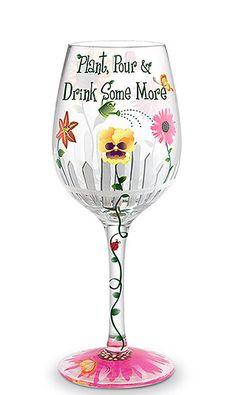 Garden Hand-Decorated Wine Glass