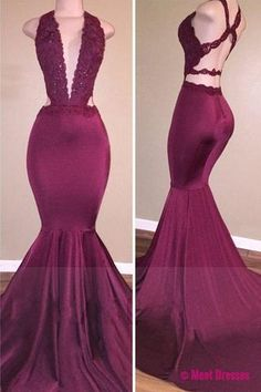 Prom Dresses,Prom Dress,Burgundy Long Floor Length Prom Dress Mermaid Lace Beading Evening Gowns PD20186306