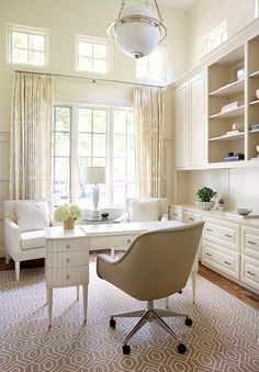 Home Office. Neutral Home Office. Neutral Home Office with built-in cabinet, white desk, greige rug and off-white curtains. #HomeOffice #NeutralInteriors  Tracy Hardenburg Designs.