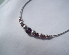 Garnet & sterling silver bangle by andreadawn1 on Etsy