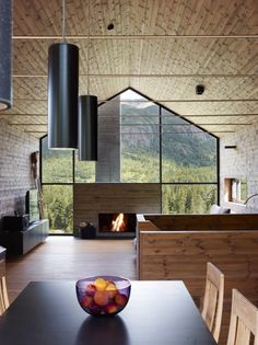 Glass wall with fireplace -love.