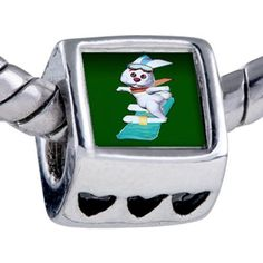 Pugster Silver Plated Photo Bead Snowboard Bunny Beads Fits Pandora Bracelet Pugster. $12.49. Bracelet sold separately. It's the photo on the heart charm. Unthreaded European story bracelet design. Hole size is approximately 4.8 to 5mm. Fit Pandora, Biagi, and Chamilia Charm Bead Bracelets