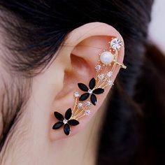 Five Petals Flowers Crystal Stud Clip Earrings