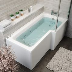 Vitura L Shape Whirlpool Right Hand Bath, 10 Jets and LED Lighting - With Screen & Front Panel L Shaped Bath, Bath Panel, Chromotherapy, Acrylic Panels, Shower Screen, Extra Rooms, Led Licht, Bath Light, Splashback