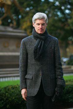 Black & Charcoal Grey Plaid Jacket, Black Scarf and Jeans, via The Sartorialist. Men's Fall Winter Fashion.