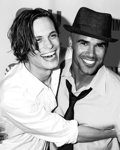 Shemar Moore  Matthew Gray Gubler, you might have to slightly avert your eyes from these super bright smiles.