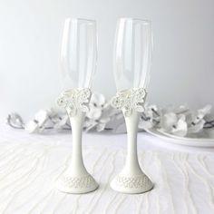 Set pahare mire si mireasa cu decoratiuni fluturi Champagne, Tableware, Dinnerware, Tablewares, Dishes, Place Settings