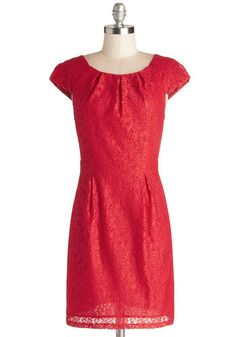 Fondue for Two Dress - Woven, Lace, Short, Red, Solid, Lace, Wedding, Party, Bridesmaid, Sheath / Shift, Cap Sleeves, Good, Scoop, Pockets, ... 59.99 at modcloth.com