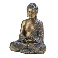 Sitting Buddha Statue Poly Resin Indoor Tabletop Golden Stylish Calming Decoration