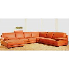 Hagerty Orange Leather U-shaped Sectional Sofa