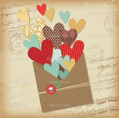 Retro scrapbooking elements, Valentine card — Stockvectorbeeld