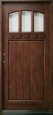 Solid Wood Front Entry Doors - Glenview Doors, Inc. Craftsman Front Doors, Craftsman Exterior, Craftsman Bungalows, Craftsman Style, Wood Entry Doors, Wood Exterior Door, Custom Interior Doors, Interior Design, Door Crafts