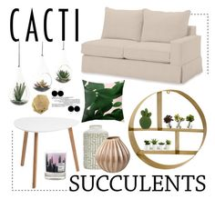 """""""Living Room - Cacti"""" by by-jwp ❤ liked on Polyvore featuring interior, interiors, interior design, home, home decor, interior decorating, NDI, Pottery Barn, Dot & Bo and Nearly Natural"""