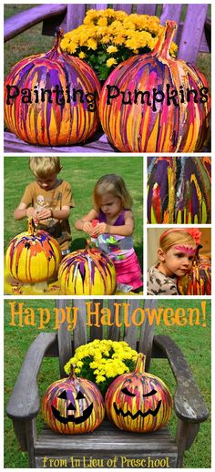 A Fun and Easy Way to Paint Pumpkins for kids. The kids &I tried this, so heres a few pointers: We didn't spray paint the pumpkin & it work out fine. We did 4 pumpkins & you really need alot of paint. I would say 2 bottles of each color. After the paint is dry be careful when you move it cuz the paint peels off from the bottom. Otherwise AWSOME turned out cool & the kids loved working with paint.~K
