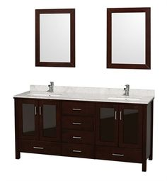 """Lucy 72"""" Modern Double Bathroom Vanity Set by Wyndham Collection in Espresso with White Undermount Sinks"""