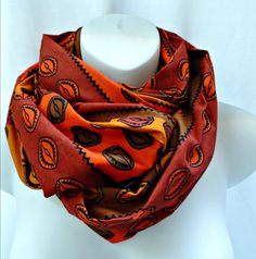 Warm Colored Shell Print Infinity Scarf by SewSophistikated on Etsy