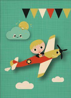 Wenskaart enkel vliegtuig Miss Honeybird
